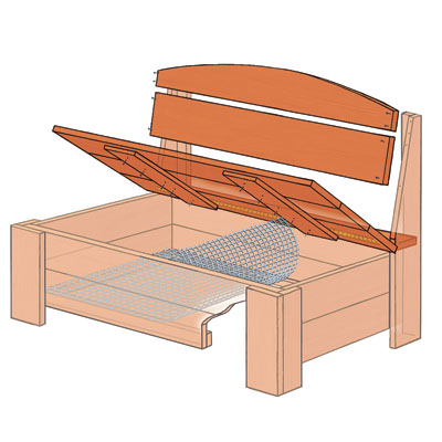 Attach the Seat and Backrest | How to Build a Bench With Hidden