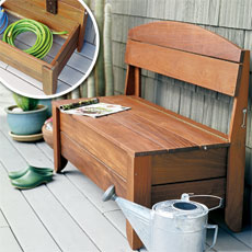 Wooden porch storage bench