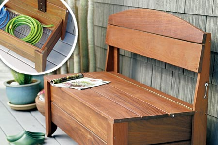 wood bench with storage plans