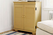 a custom-built cabinet from a bookshelf and shutters