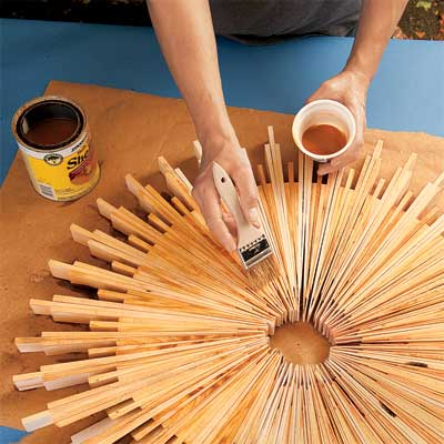 coat the wood when making a sunburst mirror frame with wood shims