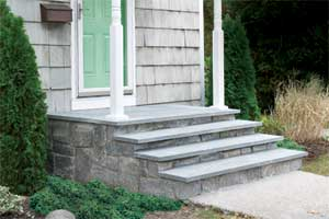 concrete steps clad in stone