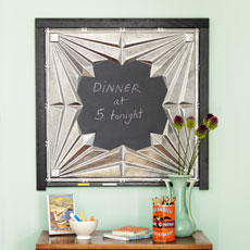 a tin-tile chalkboard