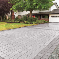 a newly installed permeable-paver driveway