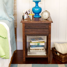 a bedroom side table decorated with trim