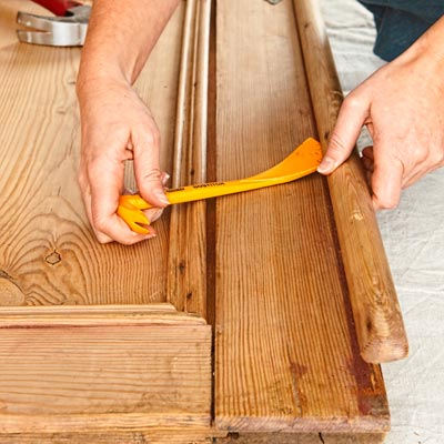 Prep the Door | How to Build a Coffee Table from a Salvaged