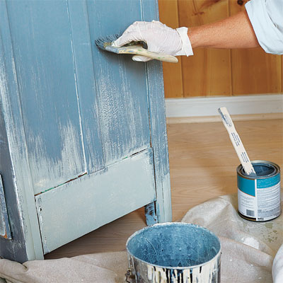 Paint Both Coats How To Faux Age Painted Wood Furniture