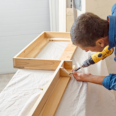 assembling a hardwood frame for kitchen cabinet crown molding