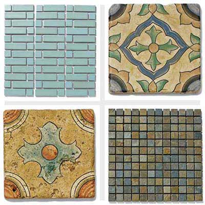 4 tile styles: Modern Blue, San Simeon Grove, San Simeon Coast, Gobi mosaic