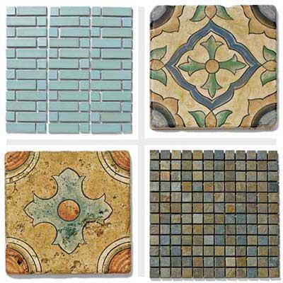 4 tile styles: Modern Blue, San Simeon Grove, San Simeon Coast, Gobi mosaic