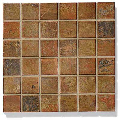 photo of art tile in Shakudo in antique copper style
