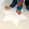 step by step how to paint a six-point star on wood floor, mark star stencil position on floor