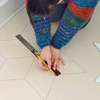 step by step how to paint a six-point star on wood floor, draw diamonds with ruler and pencil