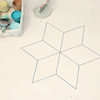 step by step how to paint a six-point star on wood floor, use ruler and permanent marker to outline diamonds