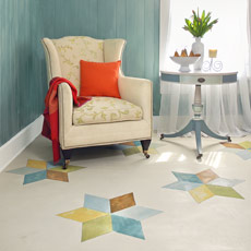 step by step how to paint a six-pointed star pattern on wood floor