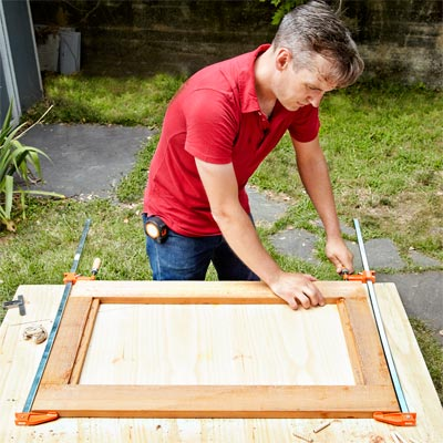 Build the Door Frame by Assembling the Frame when Building a Fold-Down Murphy Bar