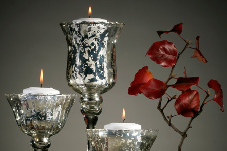 mercury glass candle holders and rose
