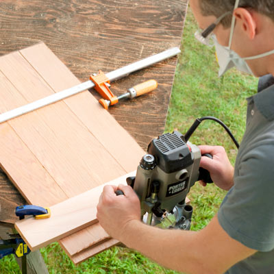 rolling outdoor grill table clamp slats together, rout the slats