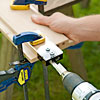 drilling dowel holes for a picnic bench