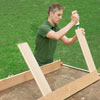 gluing rails into place for a picnic bench