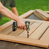 attaching the slats for a picnic bench