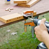 drilling dowel holes for seat boards for a picnic bench