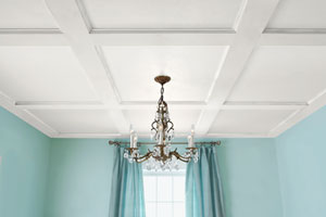 a finished coffered ceiling
