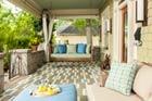 color carpet design on a porch floor