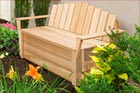 cedar Compost Bench against an exterior house wall