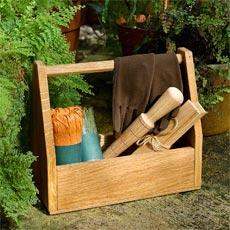 a Garden-Tool Tote sitting in a garden
