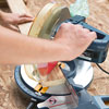 cutting the cap pieces with a miter saw