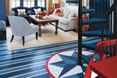 stars and stripes pattern painted on interior floor, how to step by step