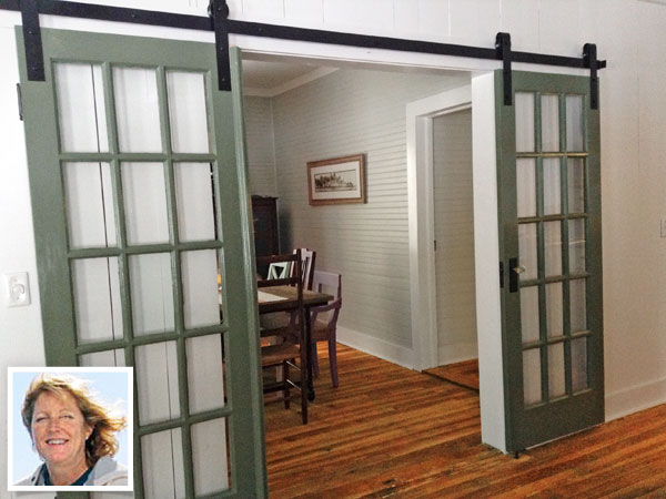 Upcycled french doors sliding barn doors a story behind for Sliding double doors