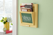 wood wall-mount holder for takeout menus