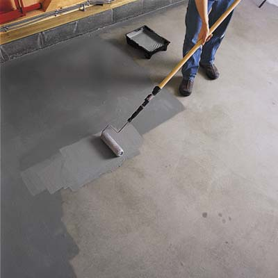 Roll the epoxy paint with a 10x10 inch roller