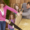 family building a fort, miter, handsaw