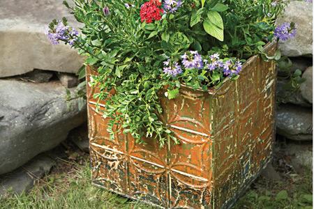 metal tiles planter