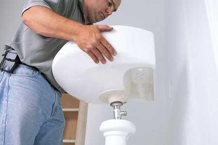 installing a pedestal sink
