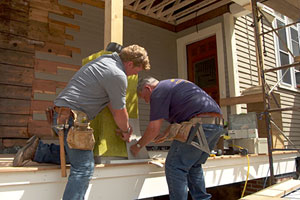 Tom Silva and Kevin O'Connor clad the porch piers in white cedar shingles