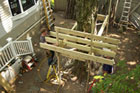 Kevin O'Connor and Tom Silva are building a treehouse