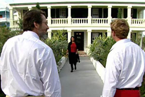 meeting the mayor outside for a tour of Bermuda before starting the 2004 Bermuda house project