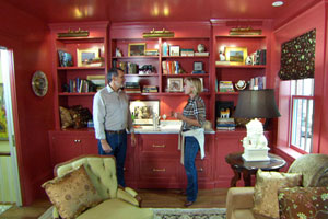 Norm Abram and interior designer Kathy Marshall in the redecorated living room
