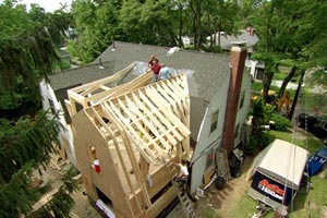 gambrel roof addition at the Newton Centre house project