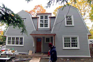 exterior renovation at the Newton Centre house project