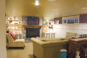contest winning basement remodel used for an entertainment center