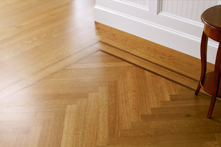 a newly installed herringbone floor