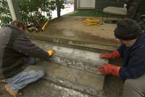 Roger Cook builds granite porch stairs