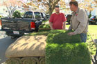 Roger Cook helps a homeowner lay sod in his backyard