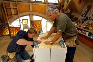 Tom Silva and Kevin O'Connor build a kitchen island