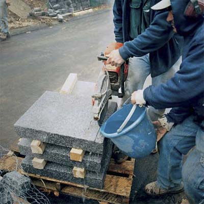 cutting the pavers